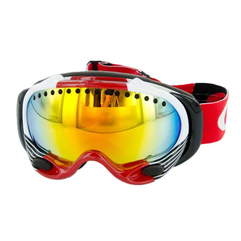 oakley a frame shaun white signature series snow goggle red block stripes with fire iridium lens