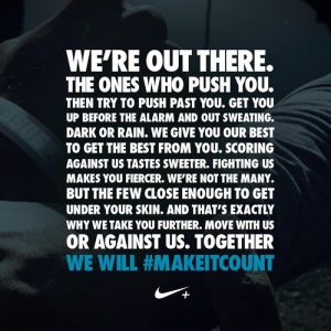 We're out there nike quote