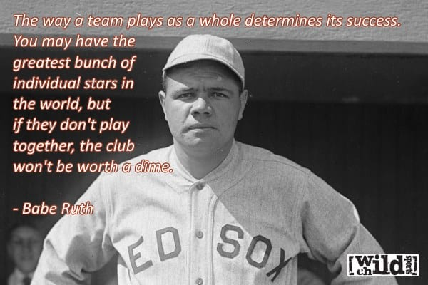 Babe Ruth Quote - The way a team plays... - Wild Child Sports